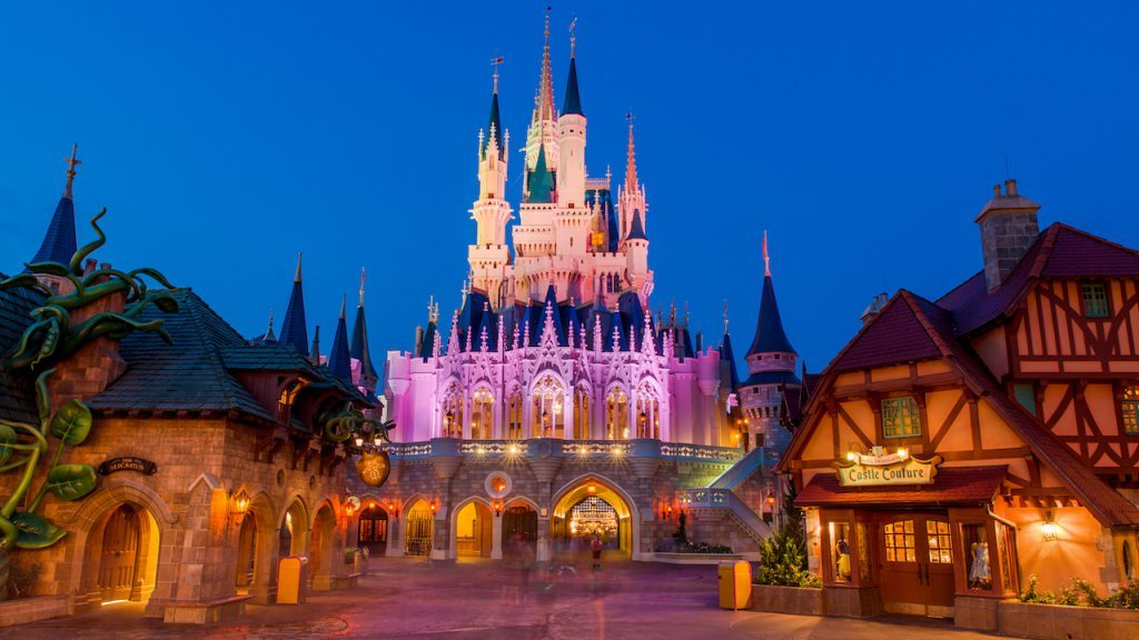 Side Shot of Cinderella Castle at Dusck in Magic Kingdom
