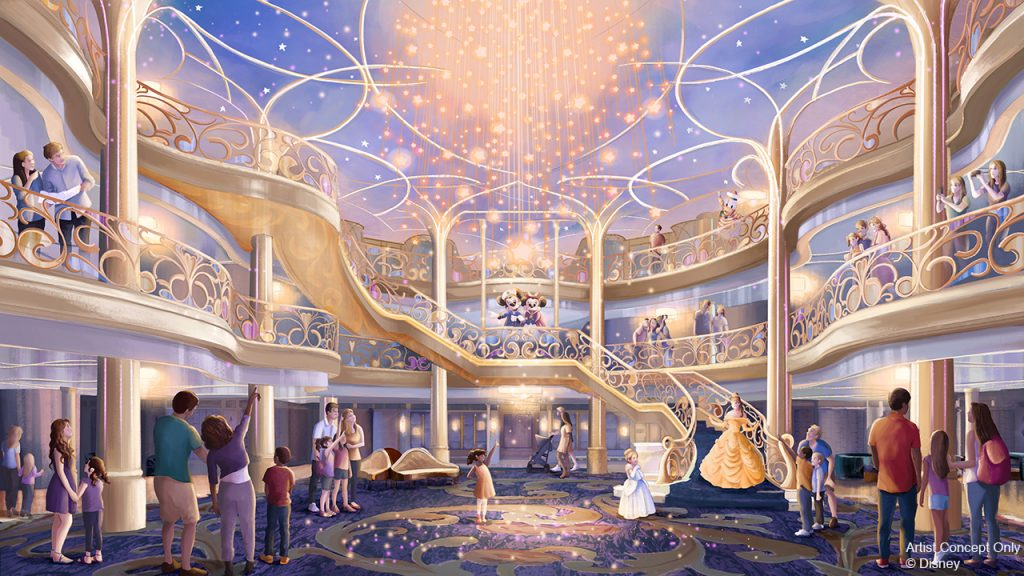 Artist concept drawing of atrium for new cruise ship, Disney Wish