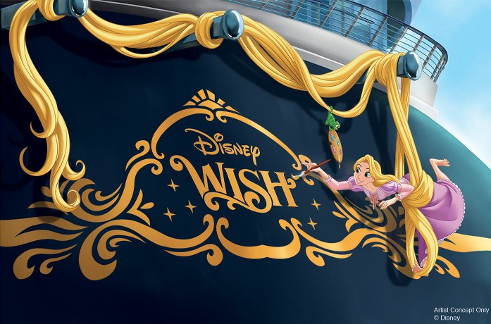 New Disney Wish stearn of ship featuring Rapunzel