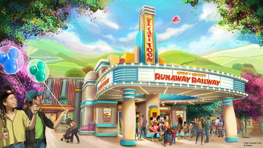 Artist rendering of entrance to Mickey & Minnie's Runaway Railway at Disneyland