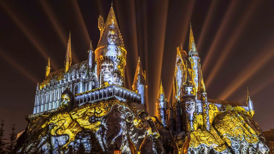 """Dark Arts at Hogwarts Castle,"" the new light projection show at Universal Orlando, will open this weekend, running on select nights through Nov. 15. [Universal Orlando]"